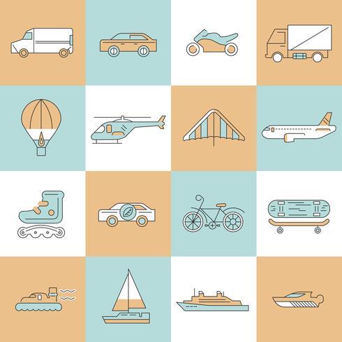 Ensemble de ligne plate de transport icônes