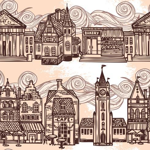Esboço cidade sem costura fronteira preto e branco