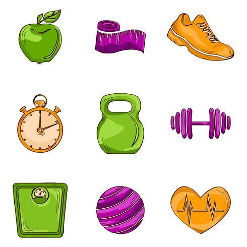 Fitness schets lijn pictogrammen vector