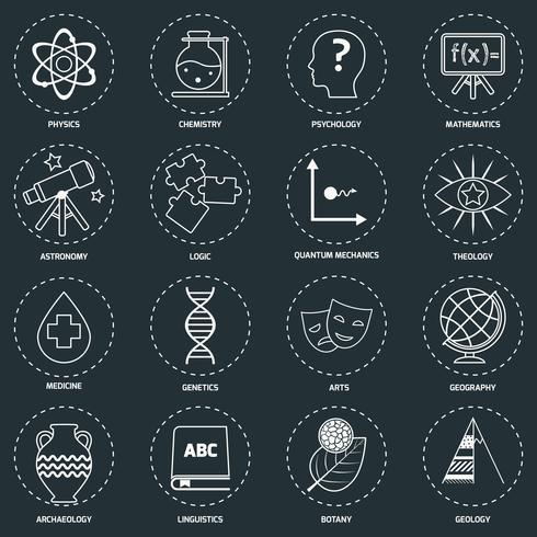 Science gebieden pictogrammen schetsen