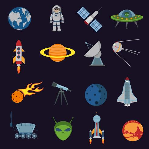 Ruimte en astronomie pictogrammen vector