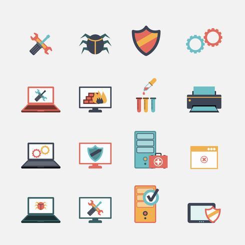Conjunto de ícones plana de reparo de computador