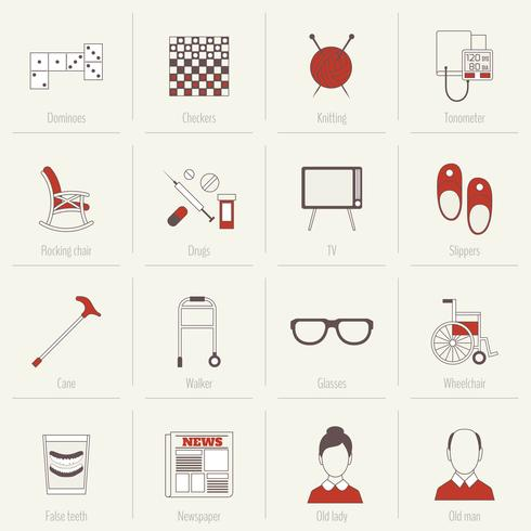 Pensioners Life Icons Flat Line