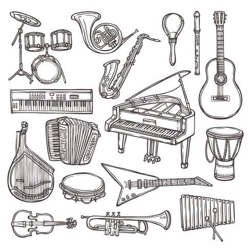 Icono de boceto de instrumentos musicales