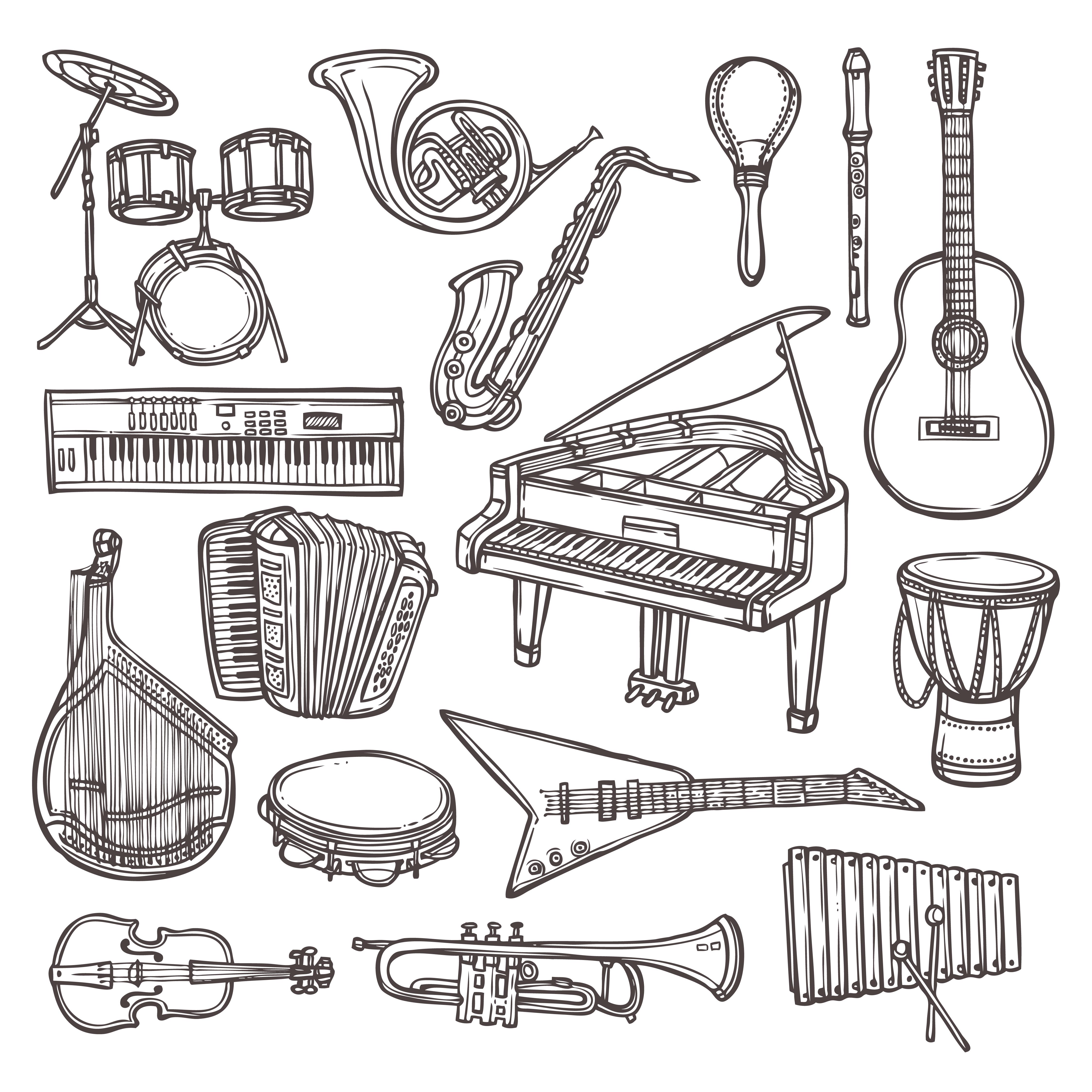 icône de croquis d'instruments de musique  telecharger