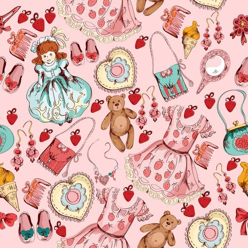Little girl accessories seamless pattern