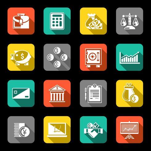 Icônes de finances mis à plat