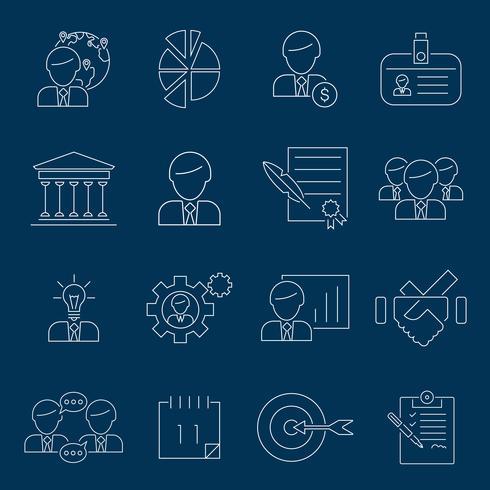 Geschäftsführung Symbole umreißen