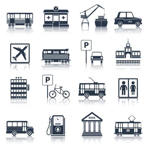 Icone di infrastrutture di città nere vettore
