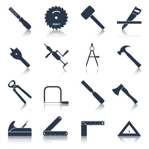 Ícones de ferramentas de carpintaria pretos vetor