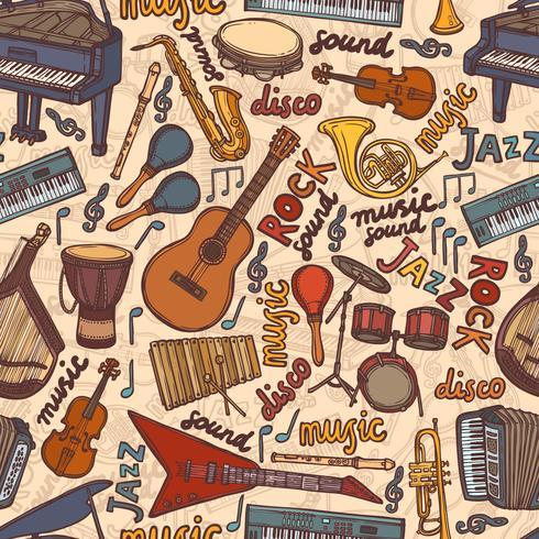 Instrumentos musicais esboçar sem costura padrão vetor