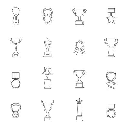 Trofeos conjunto de iconos de trofeo