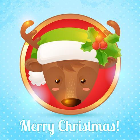Cartão de veado de Natal vetor