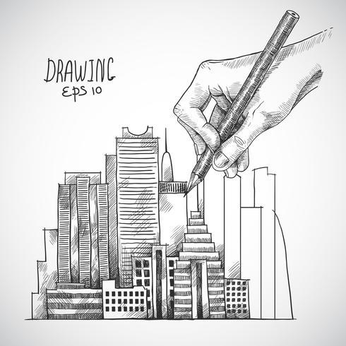Dibujo a mano edificio