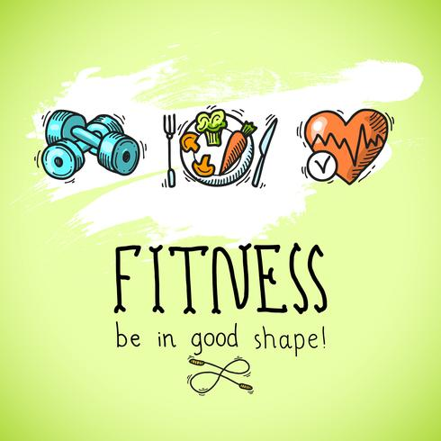 Fitness sketch affisch vektor