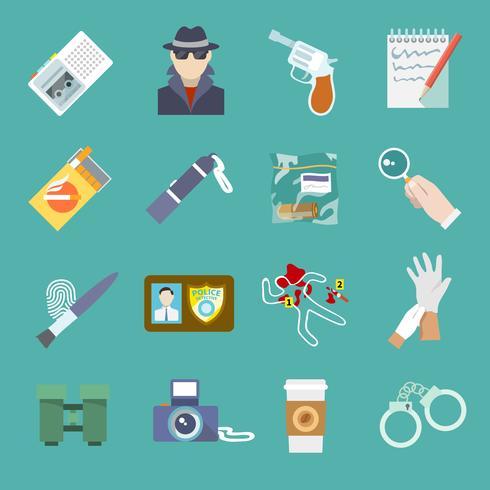 Conjunto de iconos de detectives