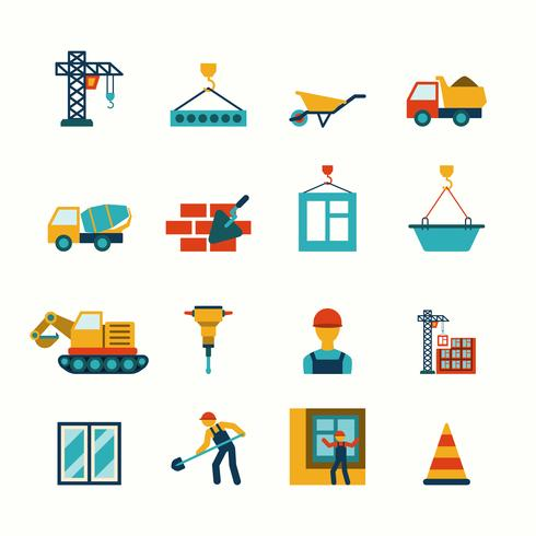 Construction flat icons set vector
