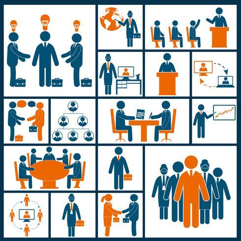 Vergadering pictogrammen instellen plat