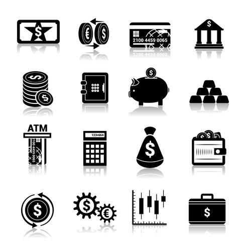 Ícones de finanças de dinheiro pretas vetor