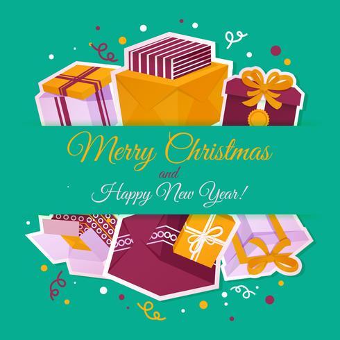 Tarjeta navideña con cajas de regalo.