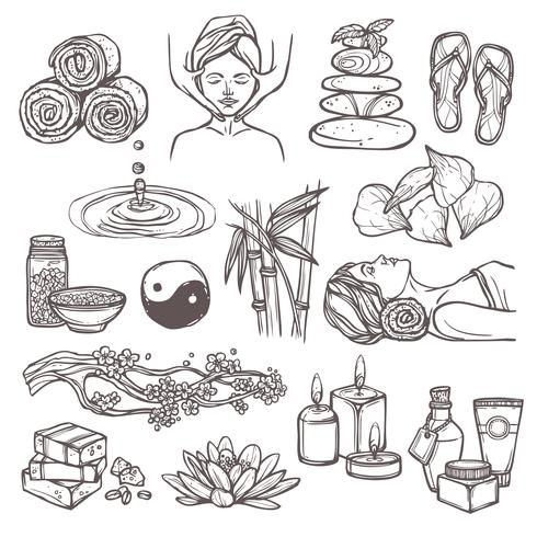 Iconos de croquis de spa