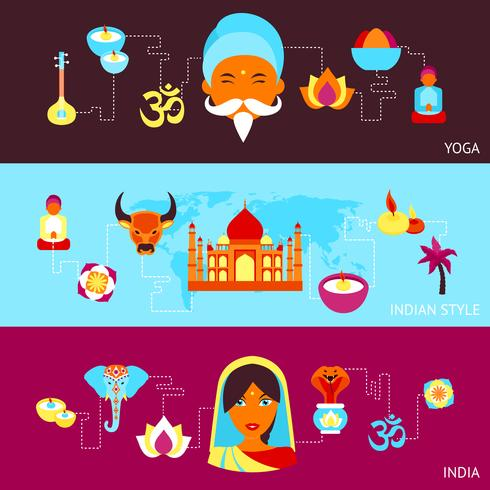 India banner set vector