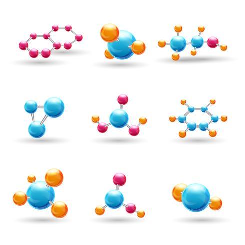3D kemiska molekyler vektor