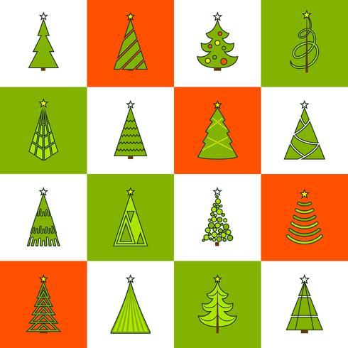Kerstboom platte lijn pictogrammen