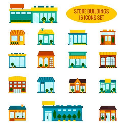 Shop Gebäude Icons Set