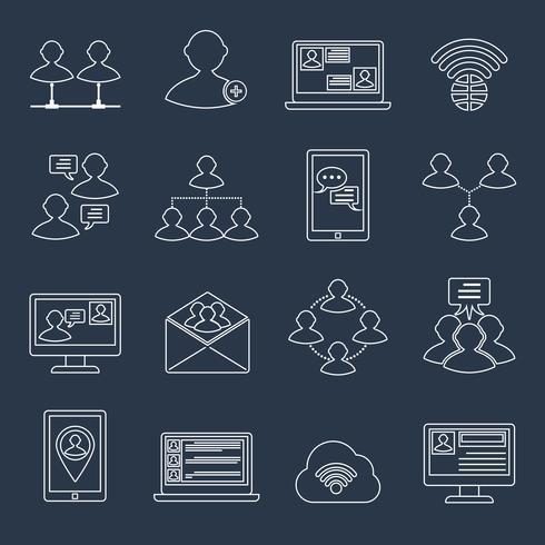 Communication icons set outline