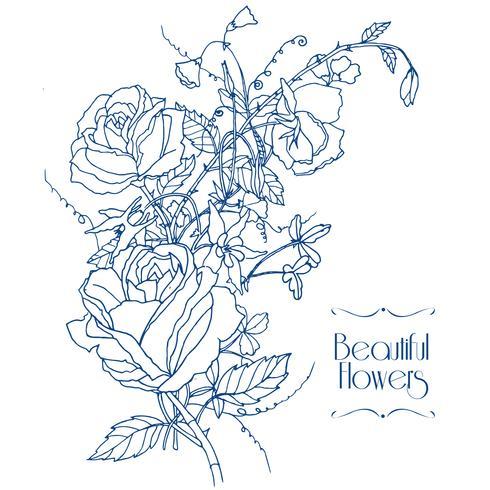 Schizzo di fiori vintage