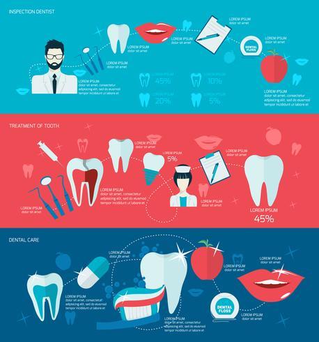 Conjunto de bandeira de dentes vetor