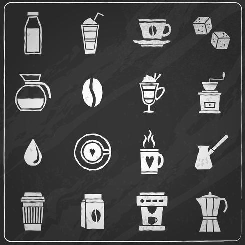 Koffie pictogrammen schoolbord