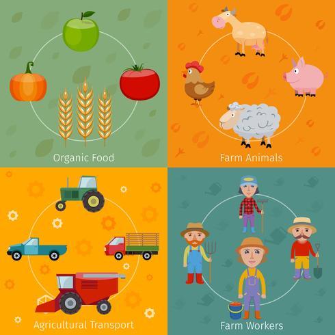 Icone della fattoria impostate piatte vettore