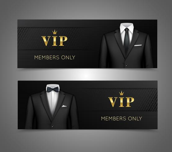 Empresario traje tarjetas vip banners horizontales vector