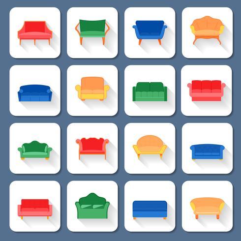 Soffa ikoner platt