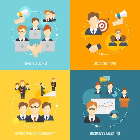 Iconos de trabajo en equipo planos