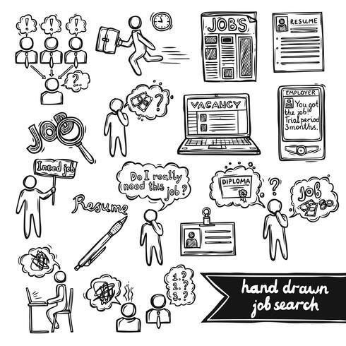 Job interview sketch set vector