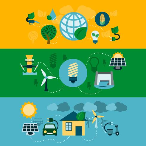 Conjunto de banners horizontales de energía ecológica. vector