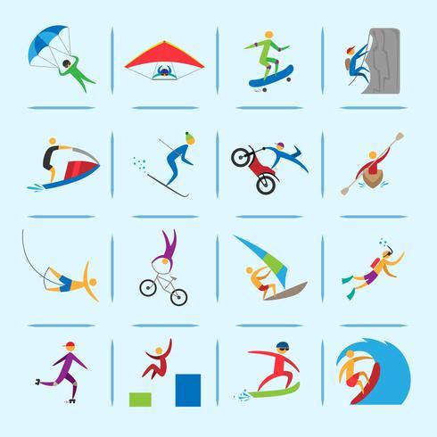 Iconos de los deportes extremos vector