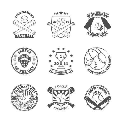 Honkbal labels pictogrammen instellen
