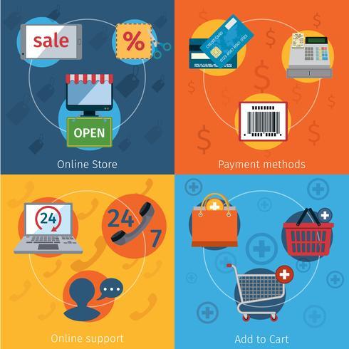 E-commerce pictogrammen plat ingesteld