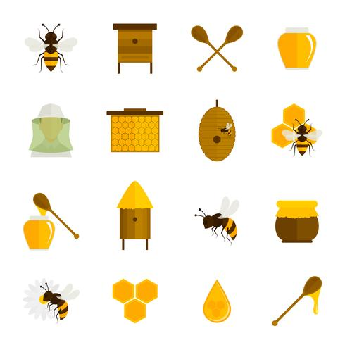 Bee honey icons flat set vector