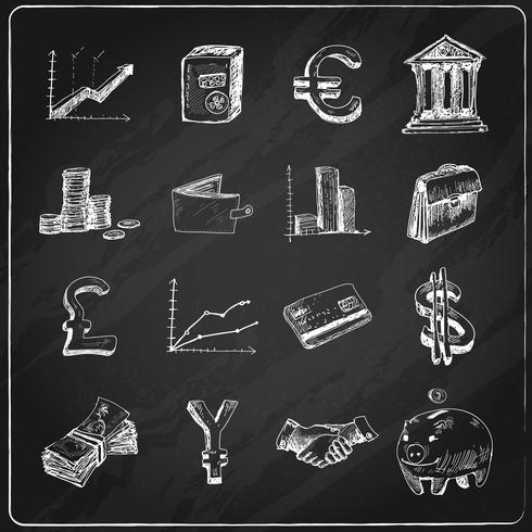 Tableau des icônes de la finance vecteur
