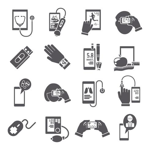 Iconos móviles de salud establecidos en negro