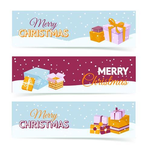 Bannières de boîte de cadeau de Noël
