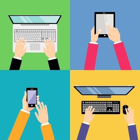 Business hands with gadgets