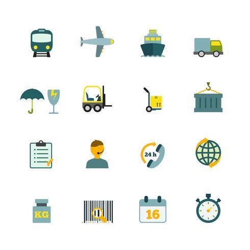 Logistic icons set flat vector