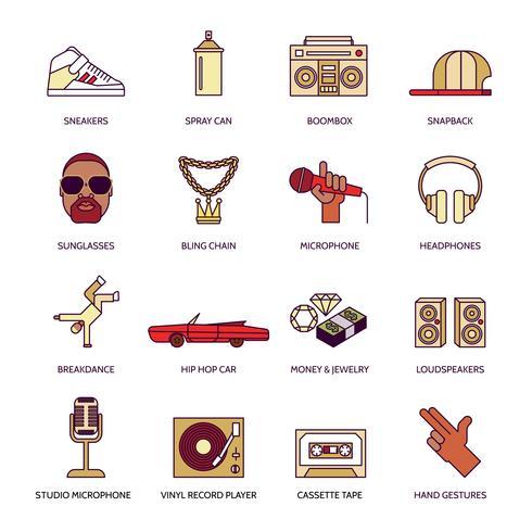 Conjunto de iconos de música rap vector