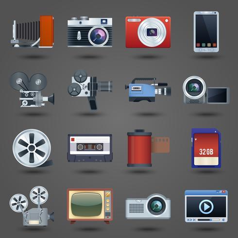 Foto video ikoner uppsättning